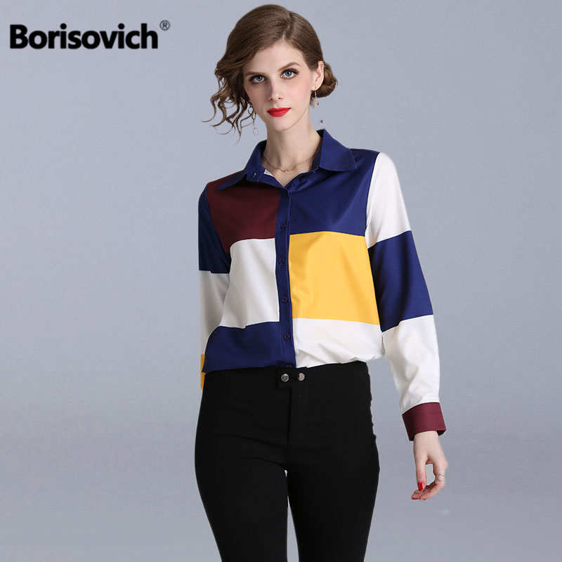 Borisovich Office Lady Elegant   Shirt   New Brand 2019 Fashion Plaid Print Turn-down Collar Women Casual   Blouses     Shirts   N746