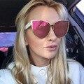 Afofoo moda cat eye sunglasses metal marco grande diseñador de la marca de lujo de gran tamaño mujeres recubrimiento gafas de sol de espejo shades uv400