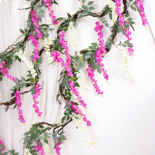 home wedding decorative fake silk flowers rattan High Artificial wisteria flower vine Bride flower Garland For Home Garden Hotel garland flowers wedding decoration artificial hydrangea vine party plastic flowers wall decor rattan silk flower wisteria wreath