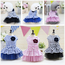 3 colors new published butterfly knot plaid grid lovely princess pet accessory dog products pets clothes dogs skirt dresses