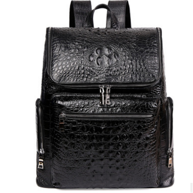 New Style Men Backpack First Layer Cow Leather Causal Large Capacity Travel Bags Double Zipper Genuine LeatherAlligator Backpack