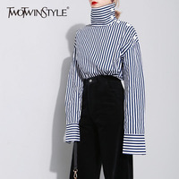 TWOTWINSTYLE Striped Off Shoulder Sexy Women S Shirt Long Sleeve Blouse Turtleneck Tops Large Size Casual