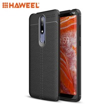 HAWEEL Phone Case for Nokia 3.1Plus / X3 Litchi Texture TPU Shockproof Cover Protective Shell