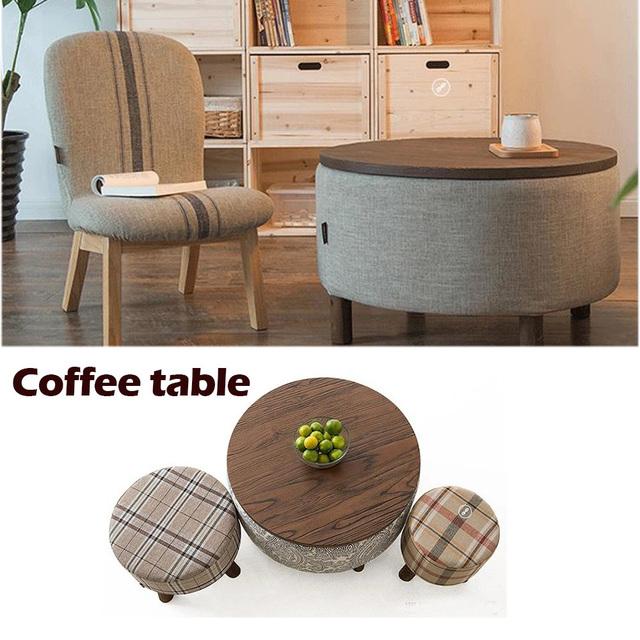 100% Madeira Tabela Coffice, pano de algodão Puro, rústico móveis De Madeira, mesa de Chá, mesa de café com armazenamento, moda móveis da sala ao vivo