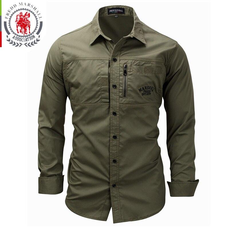 FREDD MARSHALL Men's Shirts 2019 Casual Slim Fit 100% Cotton Long Sleeves Men zip Shirt   1