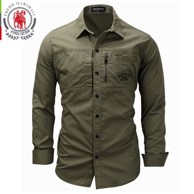 FREDD MARSHALL Men's Shirts 2019 Casual Slim Fit 100% Cotton Long Sleeves Men zip Shirt   1