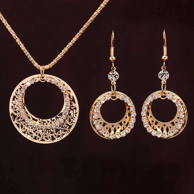 Gold-color Wedding Jewelry Sets Round Shaped Jewelry Elegant Engagement Earring + Pendant Necklace for Female Accessories