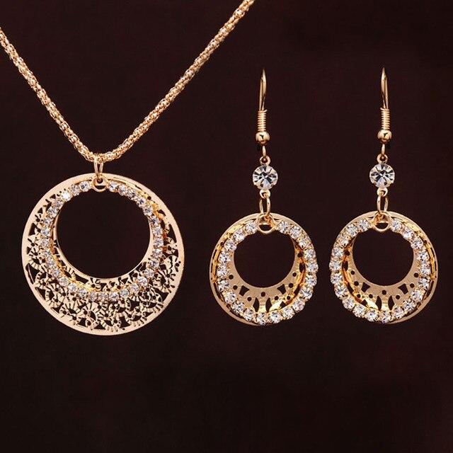 סטי תכשיטי חתונת זהב-צבע עגול בצורת אלגנטי תכשיטי אירוסין עגיל + שרשרת תליון נקבה אבזרים
