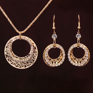 Gold-color Wedding Jewelry Sets Round Shaped Jewelry Elegant Engagement Earring + Pendant Necklace for Female Accessories(China)