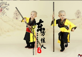 ZuiWoFoMen Drunk Monk Little Monk Chinese Kungfu Martial Art Practise Costume Ancient Chinese Costume Exhibition Costume Boy