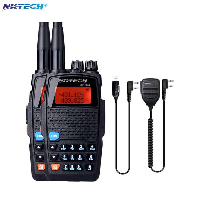 imágenes para 2 UNIDS Mini NKTECH UV-5RX VHF UHF 5 W 3200 mAh Walkie Talkie Transceptor Radio de Dos Vías Walkie Talkie + Cable de Micrófono