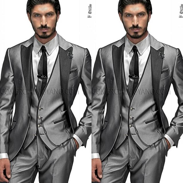 Cheap Grey Wedding Tuxedos Custom Made Slim Fit Formal Men\'s Suit ...