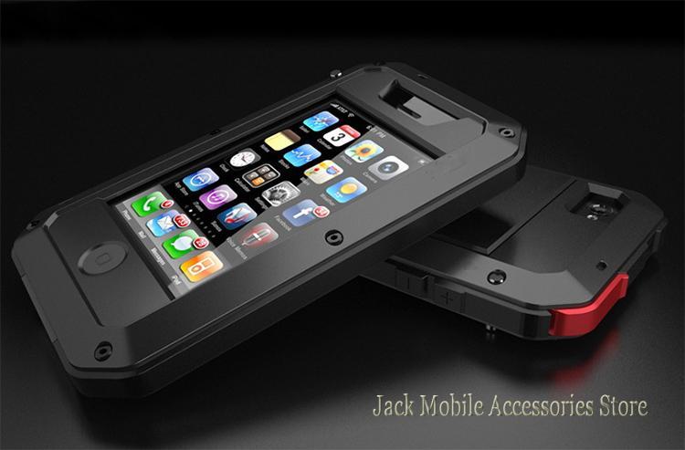 imágenes para Para el iphone 4 Caja de Aluminio de Dropproof Hermética Al Polvo para iPhone 4S 4S Cubierta de Metal + Gorilla Glass 3 Cubierta de la Caja A Prueba de