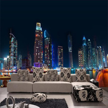 цена на 3D modern minimalist city night TV background wall professional custom mural wholesale wallpaper poster photo wall