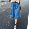 Summer Pleated Denim Long Skirt Girls Cute Blue Jean Skirts Casual Womens High Waist A-Line Denim Skirts For Ladies