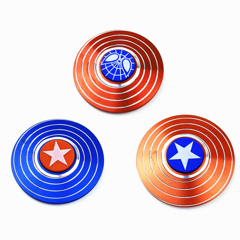 Wholesale Fidget Spinner Metal Tri  Captain America Hand Spinners Figet Finger Spiner Toys For Anti Stress Children Kid Gift