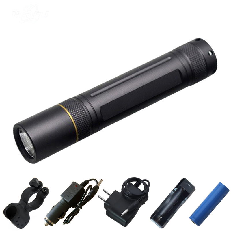 CREE xm-l t6 LED Rechargeable Pocket Flashlight Torch Mini Lantern linternas Hunting Flash Light 200M  +18650 Battery + Charger led tactical flashlight 501b cree xm l2 t6 torch hunting rifle light led night light lighting 18650 battery charger box