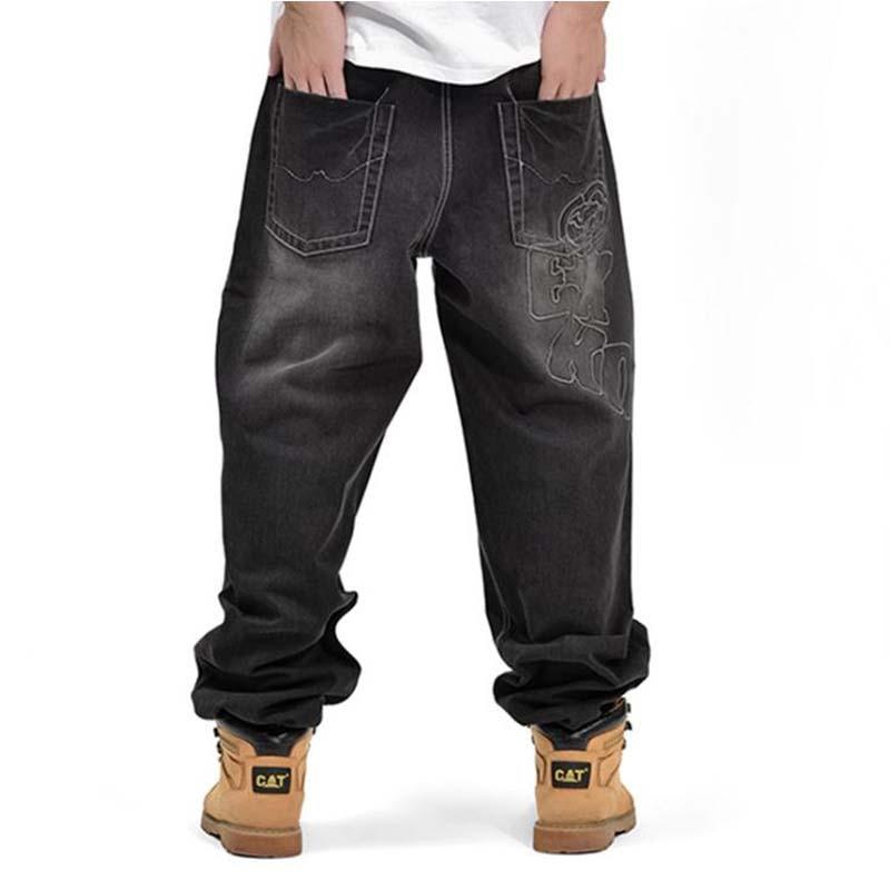 #1766 Fashion Trend Man Hiphop Skateboarders Denim Pants Autumn Winter Loose Fertilizer increased Plus Size hip hop baggy jeans summer new 2016 fashion plus size hiphop jeans men trousers thin calf lenght pants loose man s baggy pants 1802 1
