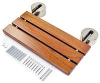 DIYHD 20 Modern Teak Folding Shower Seat Bench Chrome Wall Mount Shower Seat