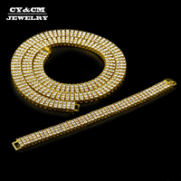 CY&CM High Quality Men Gold Silver Hip Hop Jewelry Set Iced Out 3 Row Rhinestone Bling Bling Chain 30 Logo Necklace 8 Bracelet
