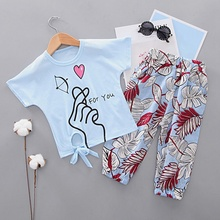 Summer Toddler Girl Cartoon Print Short Sleeve T-shirt Blouse Tops Floral Trousers Pants Casual Outfits fluted sleeve floral print blouse