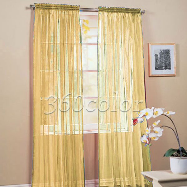 2 Panels Gold Solid Sheer Voile Window Panel Curtain Drape treatment Scarf  60