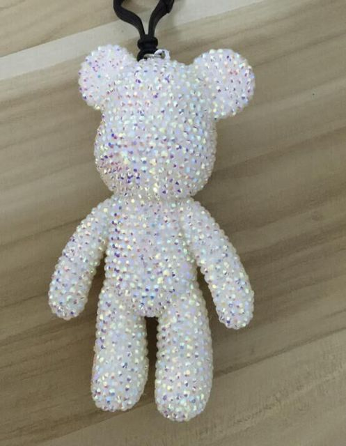 crystal bear keychain sparkly popobe keyring rhinestone teddy doll handbag charm sparkly pendants wallet bag charm