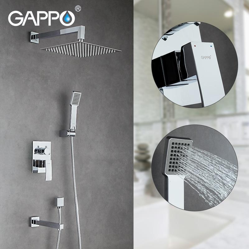 GAPPO Sanitary Ware Suite Wall mount rainfall shower faucet chrome bathtub faucet tap waterfall Bath Shower bathroom faucet set