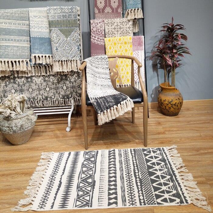 €27.66  Kilim noir blanc 100% coton salon tapis géométrique indien tapis  rayé moderne tapis design contemporain style nordique-in Tapis from Maison  & ...