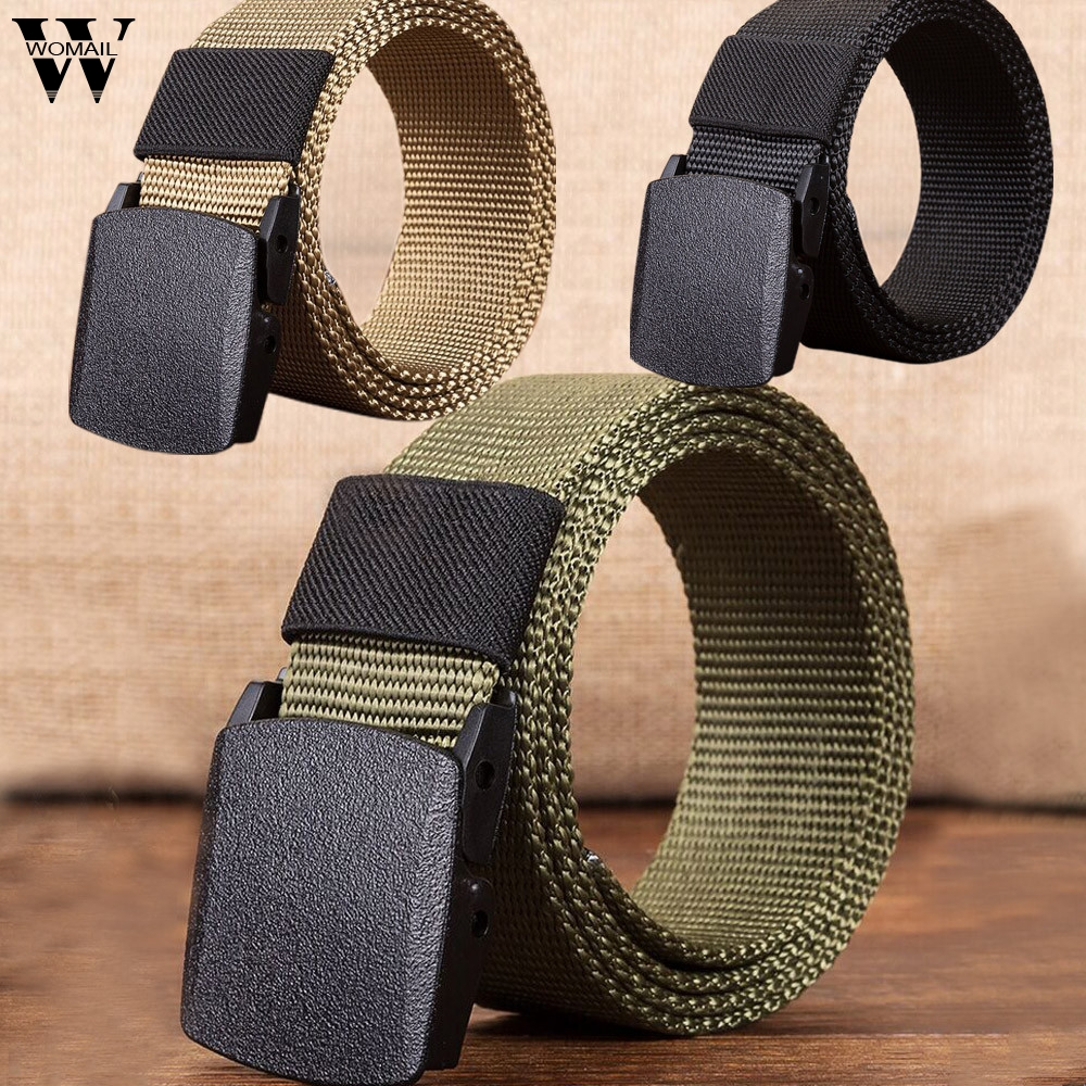 WOMAIL male belt automatic casual belt canvas stretch belt adult canvas belt men military d12w30