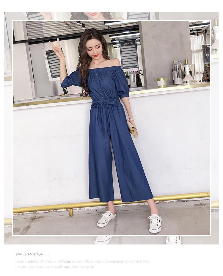 Wide Leg Denim Denim Jumpsuits Romper Off Shoulder Overalls for Women Blue Short Sleeve Female Streetwear 53