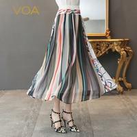 VOA Silk Georgette Skirts Women Long Skirt Multicolor Stripe Print Boho High Waist Plus Size 5XL Casual Beach Summer C369