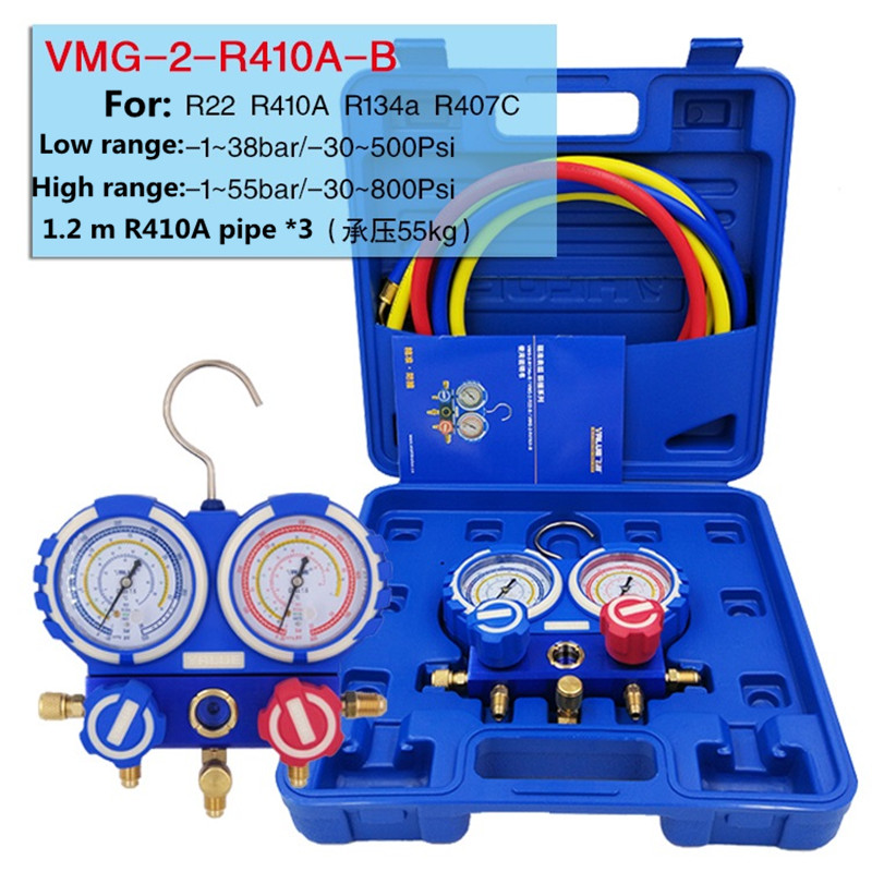 R22 R410A R134A Prevent collision air-conditioning Fluorine meter refrigerant pressure Dual table gauge with 3pcs Liquid pipe