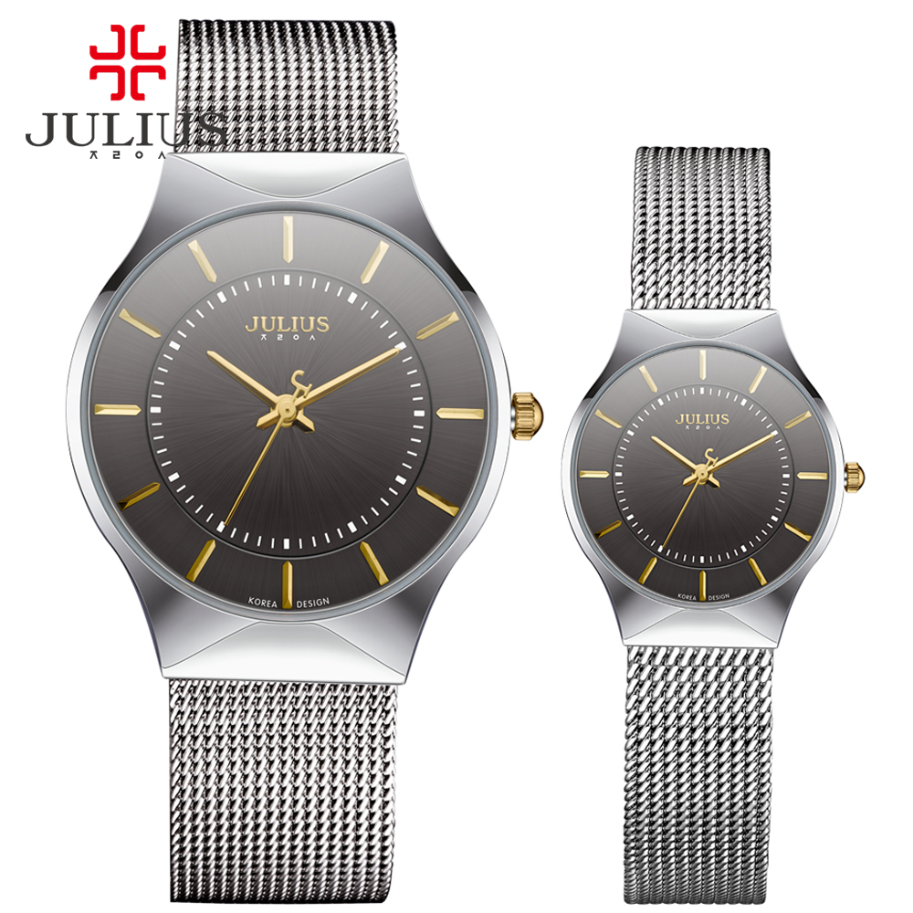 JULIUS JA-577 Couple Lover Silver Black Ultra Thin Mesh Stainless Steel Quartz Analog Waterproof Fashion Casual Luxury Watch ysdx 398 fashion stainless steel self stirring mug black silver 2 x aaa