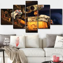 5 Panel Movie Robot Rubik's Cube Wall E Canvas Printed Poster Home Decor For Children Room Wall Art Modular Pictures Cuadros(China)