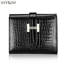 Brand Fashion Women Wallets 2017 Patent Cow Leather Alligator Pattern Hasp Short Wallet Genuine Female Small Purse Red