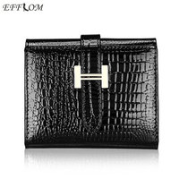 Brand Fashion Women Wallets 2017 Patent Cow Leather Alligator Pattern Hasp Short Wallet Genuine Leather Female Small Purse Red