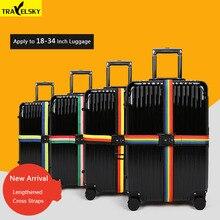 Travelsky Új TSA Travel csomagtartó szíj állítható hosszabbított bőrönd Cross Belt TSA / jelszó rögzítő csat / csomagtartó övek