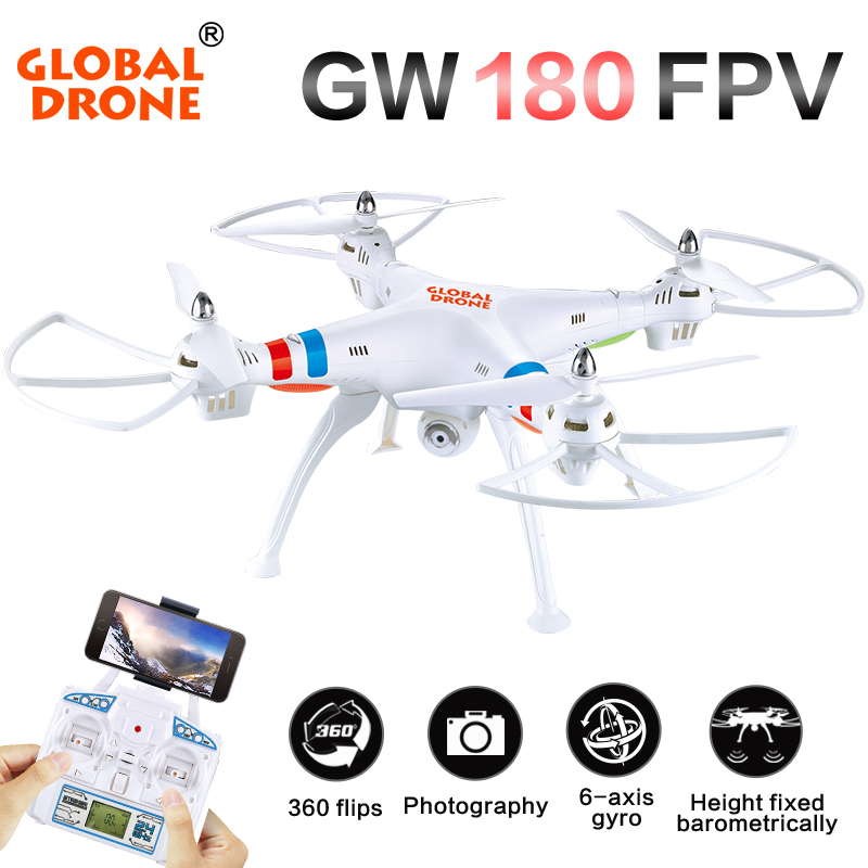 Global Drone GW180 FPV RC Quadcopter Drone With 2MP Wifi Camera 2.4G 6Axis Height Hold Mode RC Helicopter VS SYMA X8W X8HG jimi s 1 universal 360 degree rotation suction cup holder bracket for iphone gps more black