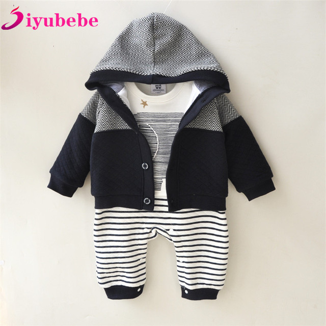 f4614741a Siyubebe Newborn Baby Boy Clothes 2PCS Set Winter Infant Thicken Cotton  Romper+Coat Baby Rompers