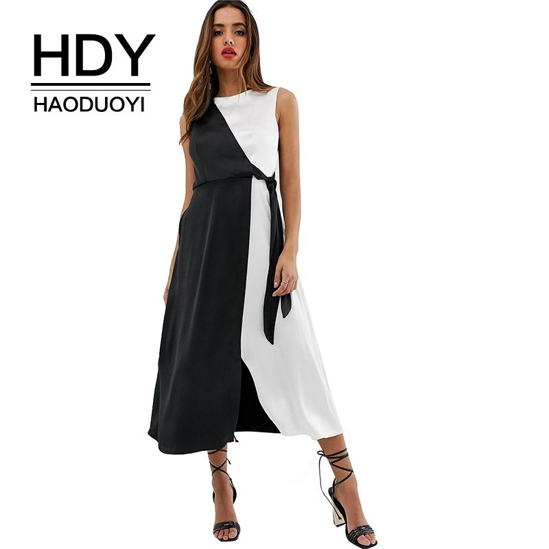 HDY Haoduoyi 2019 Simple Black And White Color Patchwork Sleeveless Long Section New Arrival Dress Business Women Party vestidos vestidos de inverno zara 2018