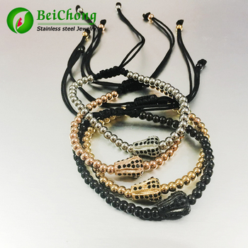 10pcs 24K Gold Beads & Micro Pave Black CZ Crown Briading Macrame Bracelet Pulseira Feminina Anil Arjandas Men Bangle