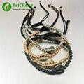 10pcs 24K Gold Plated Beads & Micro Pave Black CZ Crown Briading Macrame Bracelet Pulseira Feminina Anil Arjandas Men Bracelets