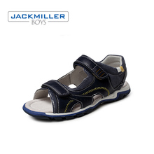 Купить с кэшбэком Jackmiller 2019 kids sandals boys casual flat comfortable outsole beach shoes children sandals kids summer black navy size 31-36