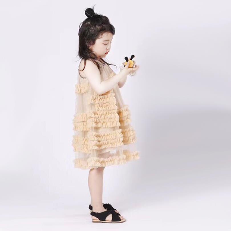 Bébé filles robe d'été nouveau style de l'europe fronde de mode robes de princesse pour enfants enfants mignon manches robe robe de soirée ws402 - 3