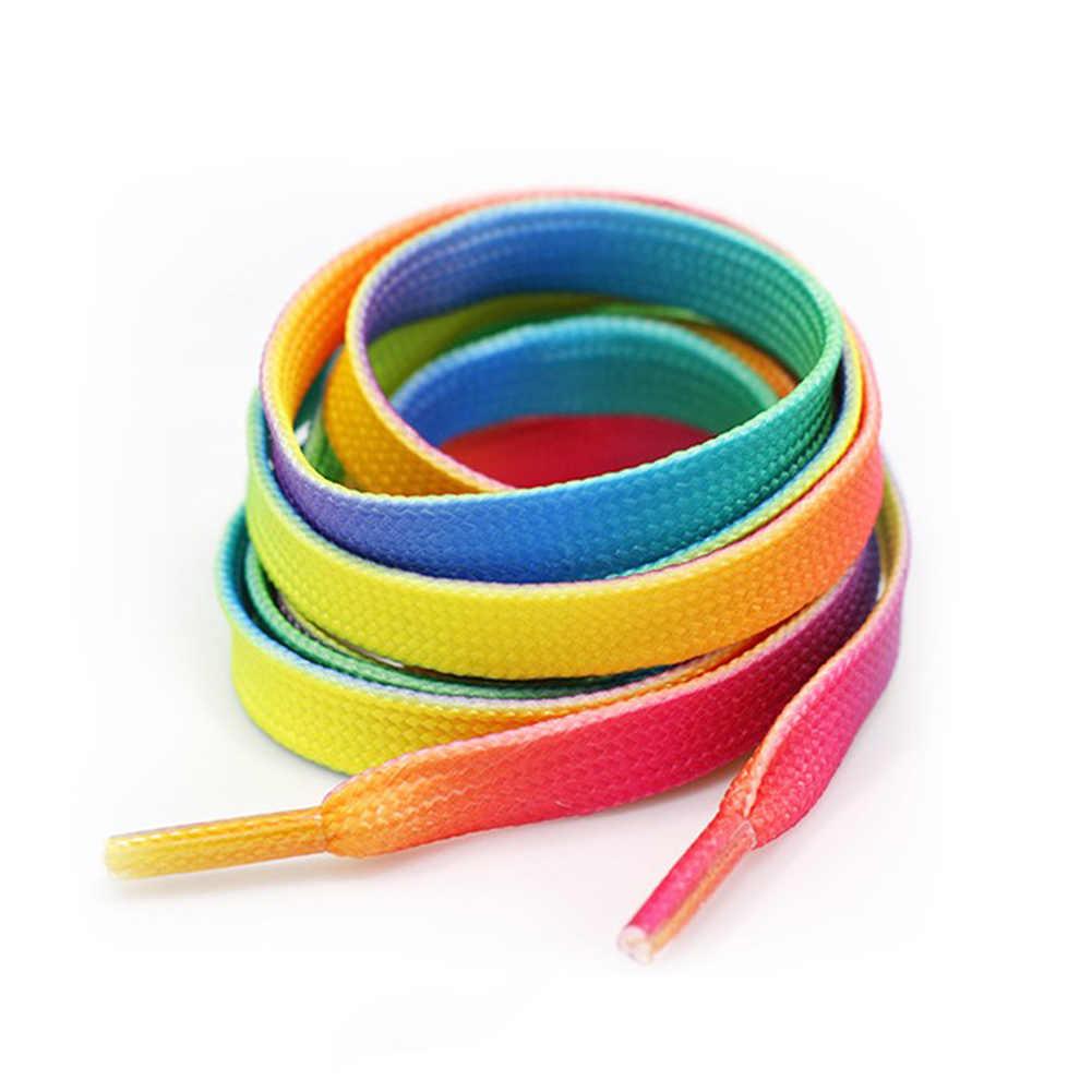 Zapatos blancos con gradiente de colores con diseño de decoración de cordones para deportes al aire libre con cordones planos para hombres y mujeres 2019
