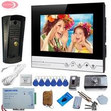 7″ LCD Screen Video Door Phone Intercom System + Metal Waterproof Camera Home Intercom System Unit + Rfid Cards Electronic Lock