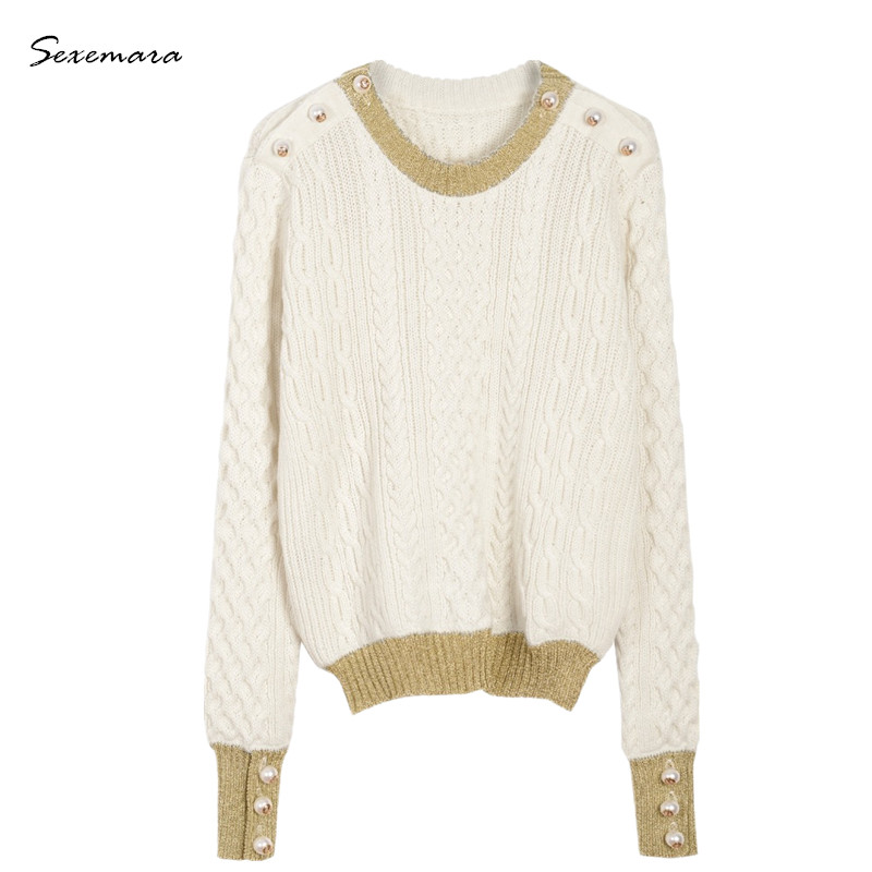 women high quality winter brand warm runway sweater pullover jumper fashion wool knitted pearl button oversized