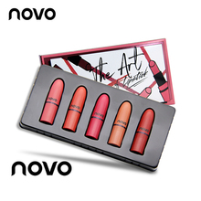 5pcs/lot NOVO Lip Makeup Mini Lipstick Set Matte and Glossy