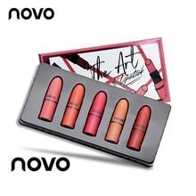 5pcs/lot NOVO Lip Makeup Mini Lipstick Set Matte and Glossy Moisturizer Lip Stic